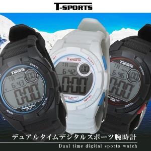 b63fed5438 T-SPORTS ティースポーツ デジタルランニング 腕時計 ストップウォッチ機能 カウントダウンタイマー付き 10気圧