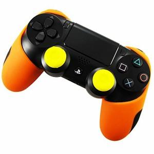PS4 コントローラー用シリコン スキン ケース 厚プラス 保護 ハーフカバー x 1(オレンジ) + ティック カバー x