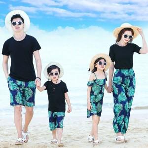 親子コーデ 親子お揃い 花柄 親子 ペアルック Tシャツ パンツ パパ ママとお揃い 上下セット 親子ペアルック ご家族お揃い 親子ペア