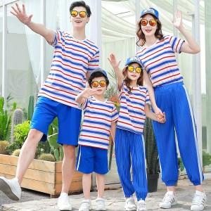 親子服 お揃い服 親子ペアルック 姉妹 おそろい服 子供服 お揃い ボーダー柄 半袖Tシャツ パンツ セットアップ家族旅行 スポーツウェア