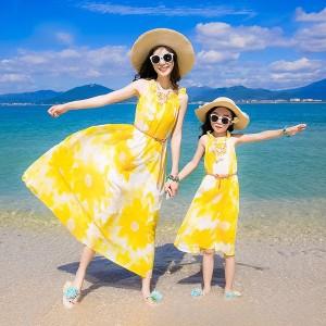 親子コーデ セットアップ 夏 お揃い親子 ワンピ 海辺 リゾート 旅行 親子 お揃い ワンピース ロング丈 花柄 家族お揃い服 母娘