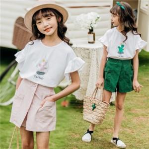 5b7dc0639dfb7 子供服 セットアップ 女の子 夏 半袖 韓国子供服 キッズ 可愛い Tシャツ ショートパンツ 上下