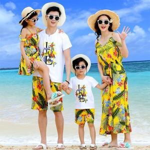 子供用 韓国親子ペアルック ビーチ ワンピース 2点上下セット ハワイアン 海旅行 リゾート 夏 ファミリー服 親子お揃い服 親子服