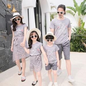 親子 お揃い tシャツ 半袖 ペアルック お揃い服 親子ペアTシャツ+パンツ/スカートセット レディース メンズ パパ ママ 女の子 男の子 親