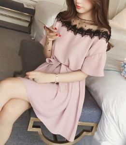 e33a2da76408a パーティードレス 結婚式 ワンピース ドレス 大きいサイズ 韓国 ワンピース ドレス 激安 袖付き ミニ 膝