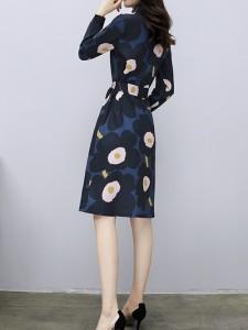 大き目の花柄がインパクト☆ ミドル ワンピ 長袖 柄物 フラワー 女子会 デート レディース 秋冬 JM2459
