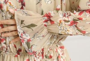 花柄 ワンピース ロング カジュアル ドレス フリル ウエストゴム 大人 可愛い 春夏 2018 ベージュ グリーン JM2613