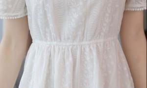 花柄 フレアワンピース ひざ丈 半袖 レース Aライン カジュアル ドレス フリル 大人 可愛い 春夏 2018 白 JM2616