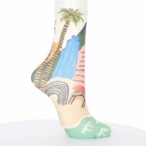 プリントソックス 西海岸の景色柄 23-25cm 綿混素材 レディース クルーソックス 靴下