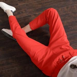 3色7サイズ展開!九分丈 綿麻パンツ テーパードパンツ レディース ボトムス リネンパンツ ウエストゴム カジュアルパンツ イージー