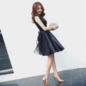 126745012aea6 後ろビッグリボン黒パーティードレス ブラック 結婚式 二次会 20代 大きいサイズ 40代 袖あり パンツドレス