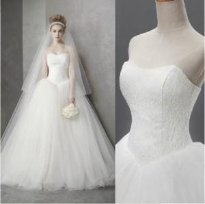 292c04c5f1275 韓国ボリュウムロングウェディングドレス 刺繍レースロングフリルドレス お姫系トレーン