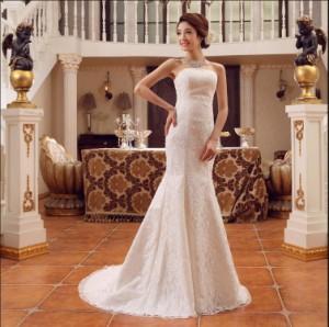 f8d4a903e4ec4 ロング高マーメイドウェディングドレス豪華なウェディングドレス結婚式パーティー披露宴 二次会フリルドレス