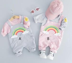 2652f6c69f1af キッズ用 カバーオール+Tシャツ2点セット ベビー子供服 赤ちゃん春秋 柔らかい カジュアル
