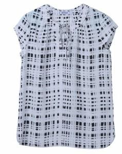 2018夏新作 送料無料 Tシャツ カットソー 半袖 チョーク 格子柄 ラウンドカット 紐リボン クリアランスカット 春夏