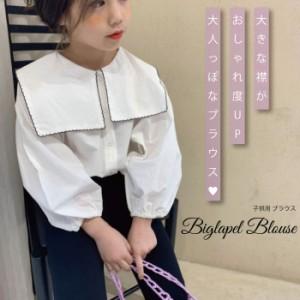 子供 ブラウス トップス 無地 襟 大きい 子供 韓国 子供服 可愛い 韓国子供服 韓国子ども服 韓国こども服 女の子 カジュアル ナチュラル