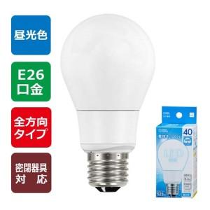 OHM LED電球 40W相当/523lm 昼光色 E26 全方向配光タイプ・密閉形器具対応 LDA5D-GAG9