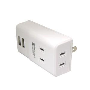 【送料無料】トップランド USBスマートタップ USB2ポート コンセント2個口 最大出力2.1A M4066