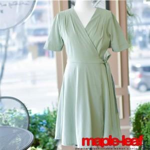 ウエストリボン ワンピース フレア ラップドレス ミニ 半袖 ドレス パステルカラー 結婚式 お呼ばれ デート カシュクール 二次会
