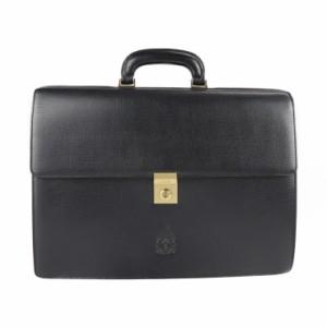 美品 LOEWE ロエベ アナグラム ビジネスバッグ レザー ブラック ブリーフケース 書類鞄【本物保証】