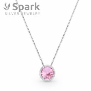 Spark スパーク かわいい プチ ネックレス スワロフスキー社製 ライト・ローズ シルバー925 Crystal 誕生日 プレゼント 贈り物
