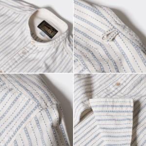 オルゲイユ 通販 ORGUEIL  OR-5016C Band Collar Shirt バンドカラーシャツ ドビーストライプ  ステュディオダルチザン 通販