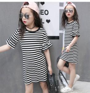 326ab6eee6e64 送料無料 キッズファッション 子供服 女の子 ワンピース 半袖 韓国風 ボーダー シャツワンピ 細身 個性 フリル袖