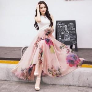 お呼ばれ ロングスカート 大人 パーティードレス 二次会 結婚式 ボシミア セクシー エレガント花柄 欧米風 Aライン シフォン