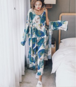 可愛い レディース 3点セット パジャマ ルームウェア  女性 キャミソール ネグリジェ 寝巻き 上下セット 部屋着 花柄 セクシー