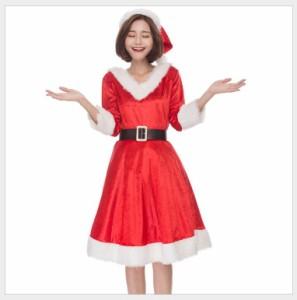 87b1a06de359f 3点セット サンタガール ワンピース コスプレ レディース サンタコスチューム ベルト付き 衣装 演出 仮装 クリスマス