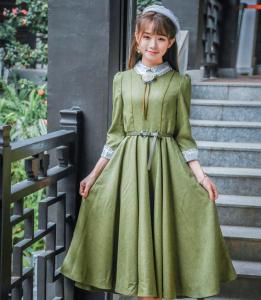 f3055825dcac0 お呼ばれ ワンピース ドレス 英国風 お嬢様 マキシ ロング 可愛い グリーン 大きいサイズ ベルト付き おしゃれ 姫