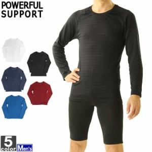 長袖シャツ パワフルサポート POWERFUL SUPPORT メンズ 12912 成型 ジャカードボーダー柄 長袖 Tシャツ 2006 トップ