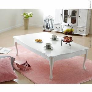 センターテーブル ローテーブル かわいい 姫系 折れ脚 折りたたみ 猫脚 テーブル 120×75 家具