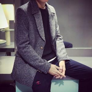 送料無料男 コート スーツ 長袖 無地 前開き ミディア ピーコート Pコート アウター 無地 折襟 ロングアウター ジャケット