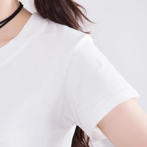 送料無料 クールネック Tシャツ ショート丈 半袖Tシャツ 丸首 トップス 春夏 エレガント レディース
