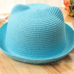 送料無料耳付き麦わら帽子 可愛い 耳付き 麦わら帽子 子供 ハット 帽子 女の子 ストローハット 日よけ UVカット キッズ 小