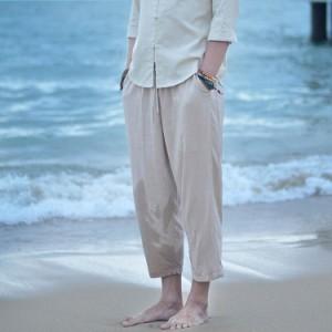 送料無料 サルエルパンツ 9分丈 リネン パンツ 綿麻 パンツ リラックスパンツ サルエル風 ロングパンツ メンズ