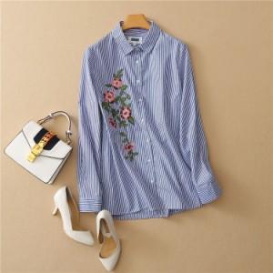 花柄刺繍入り ストライプシャツ
