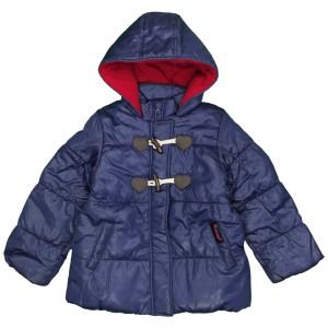 77a3afebfdec9 女の子キッズ Aライン中綿ジャンパー コート フード付き ジャケット シンプル無地 女児 ネイビー-無地