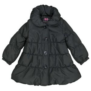176a44e0b50cc 女の子 キッズ 中綿ジャンパー Aライン コート 天使のコート ジャケット シンプル無地 女の子 ブラック 100cm