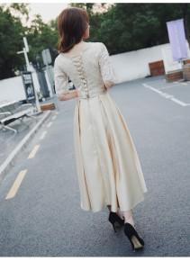 【2018春新作】二次会 結婚式 ドレス エレガントロングワンピース レース フレア Aライン クルーネック