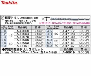 マキタ 充電用超硬ドリル3本セット (3.4・3.5・4.mm×各1本) A-46919