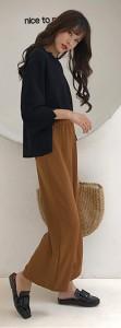 ストレスフリーな履き心地が嬉しいシンプルワイドパンツ☆1251