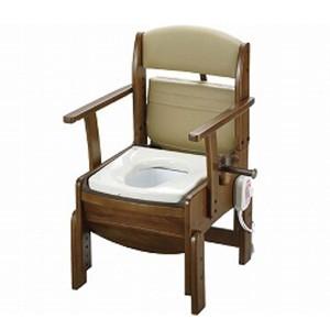 木製トイレ きらく コンパクト 18530 暖房便座 リッチェル (ポータブルトイレ) 介護用品