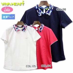 ビバハート VIVA HEART 012-22441 レディース 半袖 ポロシャツ 吸水速乾 UVカット ゴルフウェア スポーツウェア