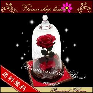 プリザーブドフラワー 美女と野獣 ディズニー美女と野獣メッセージカード入れ付き 一本薔薇 ガラスドーム 誕生日プレゼント