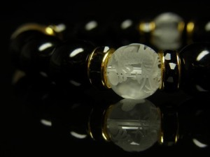 素彫四神獣本水晶×ブラックオニキスブレスレット 10ミリ数珠 天然石パワーストーン 風水 四神相応