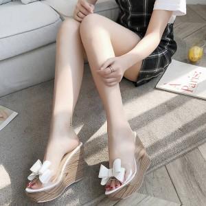 2018新作欧米風 上品質レディースサンダルウェッジ木ソール 靴サボサンダル 厚底11cmサンダル可愛いリボン飾りサンダル QX201