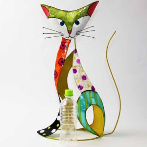 手作り感がかわいい/ ねこ/ カラフルな猫のダストボックス/ ネコ/ ゴミ箱/ モダン/ ヨーロッパ市場向け製品/ インテリア/ ペダルペール