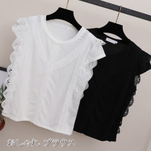 レーストップス シャツ レディース 夏 ブラウス オフィスカジュアル フェミニン 白シャツ おしゃれ 無地 可愛い 通勤 カジュアルシャツ